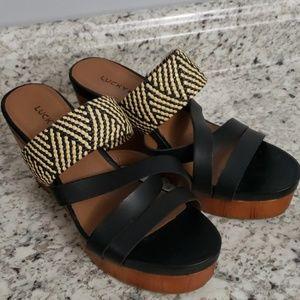 Lucky Brand Wooden Slip On Sandals